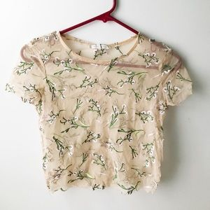 Cropped, sheer embroidered shirt